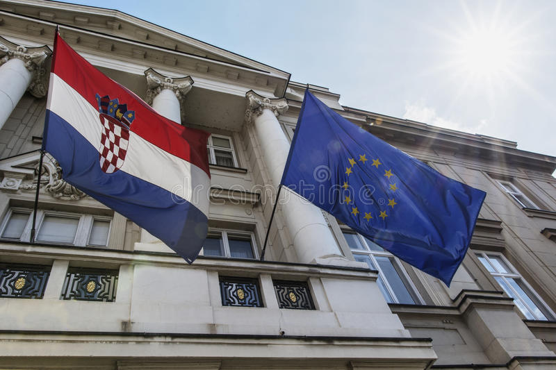 croatian and european flags royalty free stock images