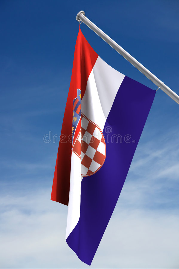 Croatian Flag. On a blue sky background, with clipping path royalty free stock images