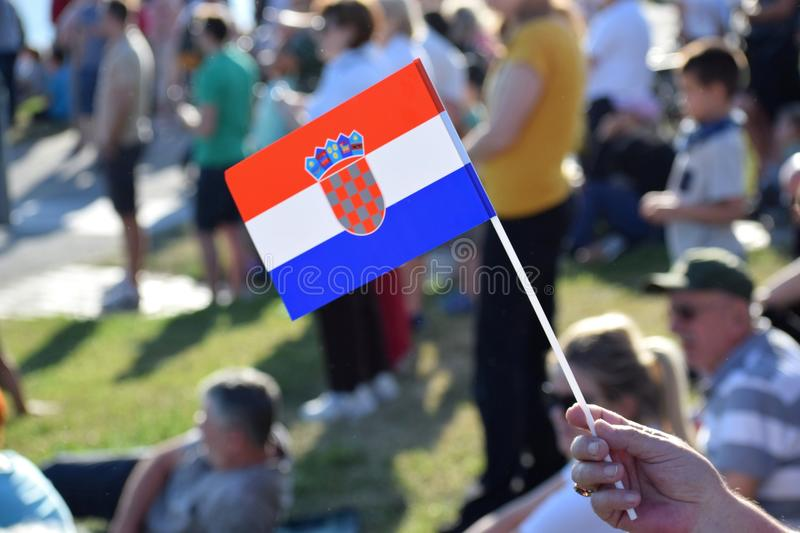 Croatian flag and the crowd royalty free stock images