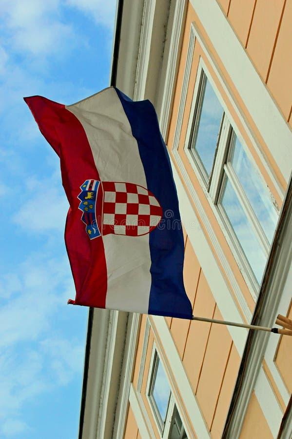 Croatian Flag flying proudly in Varazdin. Northern croatia near the border with Slovenia stock photo