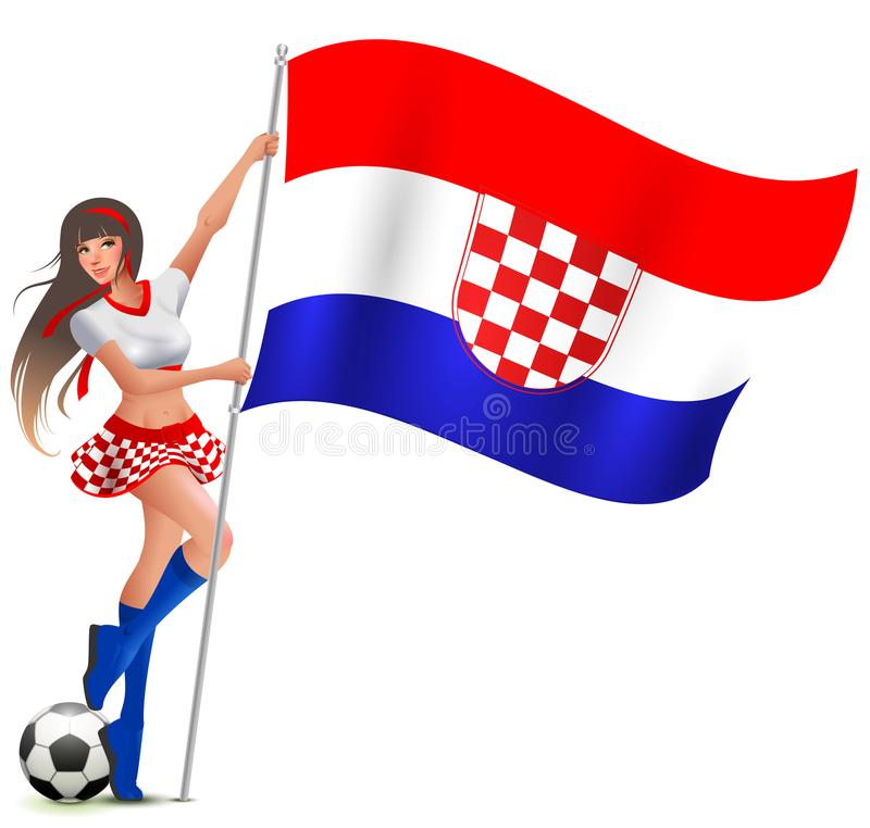 Free Croatian Girl Fan Rejoices In Victory Soccer And Holds Flag Royalty Free Stock Images - 121375229