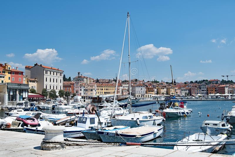The Croatian harbour of Rovinj, a fishing port on the West coast of Croatia. royalty free stock photo