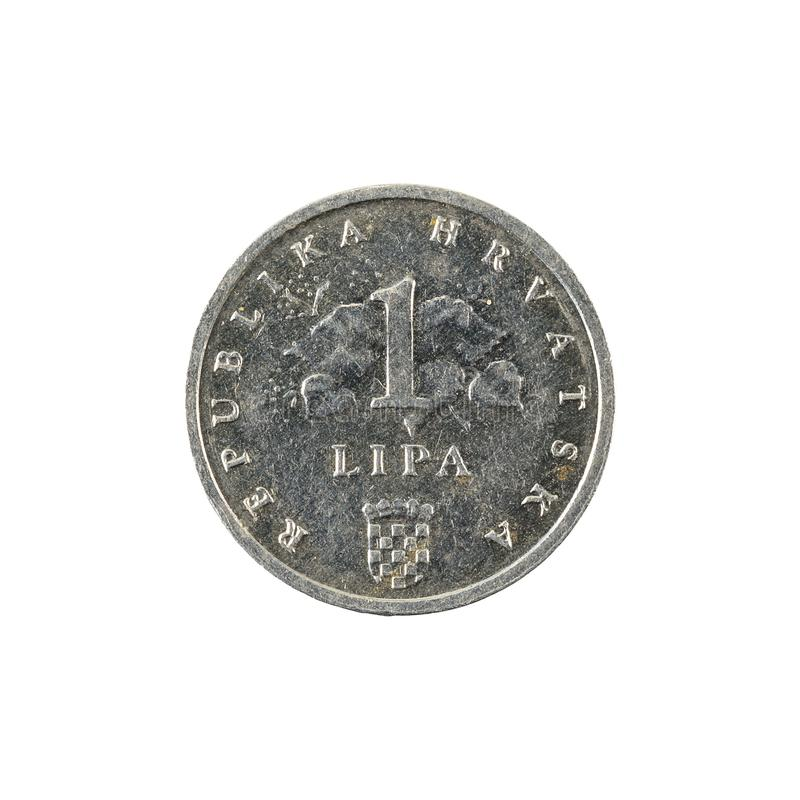 1 croatian lipa coin 1993 obverse. Isolated on white background royalty free stock photo