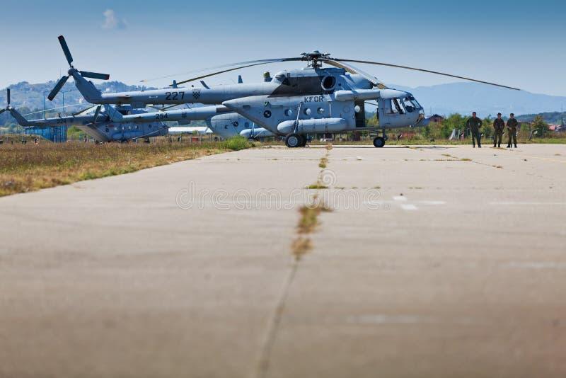 Croatian military helicopter Mi-171sh on tarmac royalty free stock photo