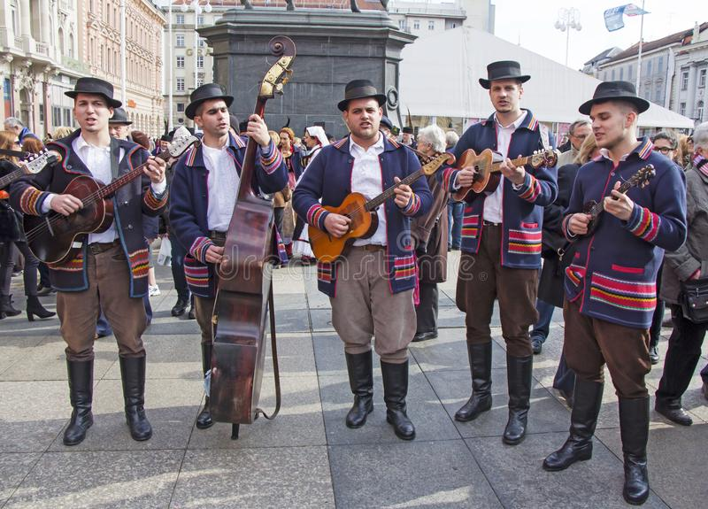 Croatian musicians in traditional Slavonian costumes royalty free stock photos