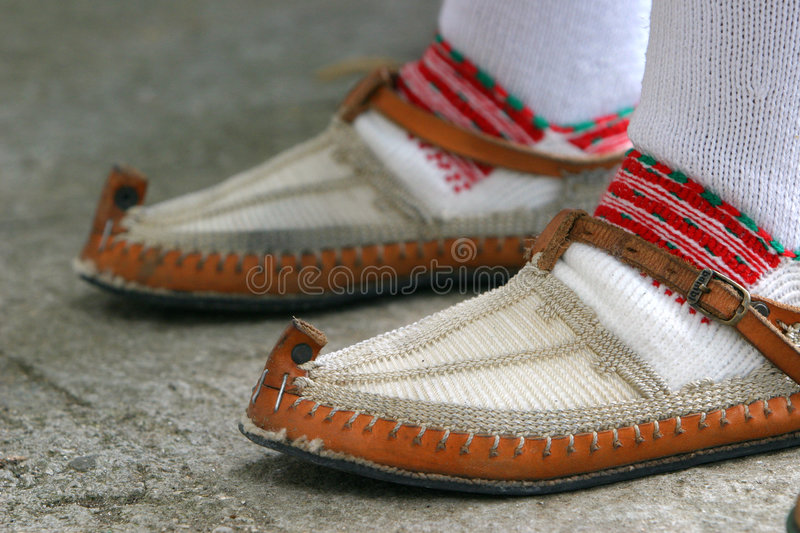 Croatian national costume. Special footwear stock images