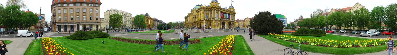 Croatian National Theatre panoramic view stock photo