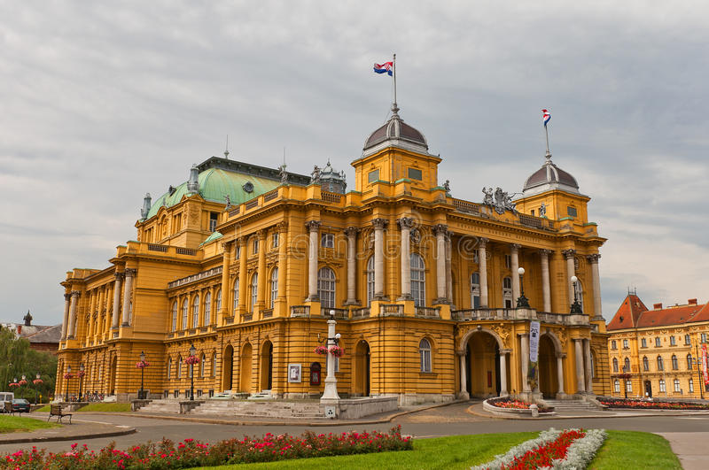 Croatian National Theatre (1895) in Zagreb, Croatia. Croatian National Theatre (circa 1895) on Marshal Tito Square in Zagreb, Croatia. Commonly referred to as stock photography