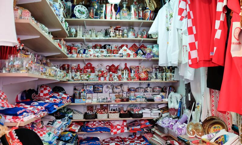 Croatian souvenirs for sale at gift store located in central farmers' market Dolac. Gornji Grad. Zagreb. ZAGREB, CROATIA - AUGUST 29, 2018: Croatian souvenirs stock image