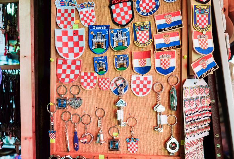 Croatian souvenirs for sale at gift store located in central farmers ' market Dolac. Gornji Grad. Zagreb. ZAGREB, CROATIA - AUGUST 29, 2018: Croatian souvenirs stock images