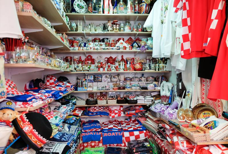 Croatian souvenirs for sale at gift store located in central farmers ' market Dolac. Gornji Grad. Zagreb. ZAGREB, CROATIA - AUGUST 29, 2018: Croatian souvenirs stock image