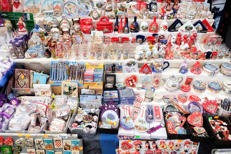Croatian souvenirs for sale at gift store located in central farmers' market Dolac. Gornji Grad. Zagreb. ZAGREB, CROATIA - AUGUST 29, 2018: Croatian souvenirs royalty free stock photos