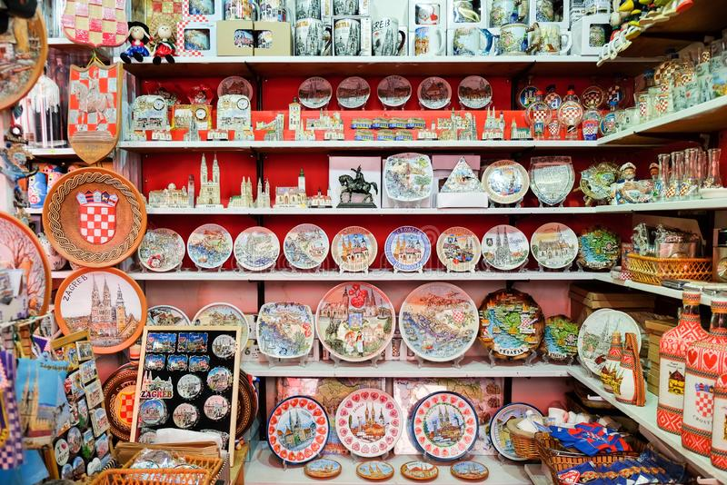 Croatian souvenirs for sale at gift store located in central farmers ' market Dolac. Gornji Grad. Zagreb. ZAGREB, CROATIA - AUGUST 29, 2018: Croatian souvenirs royalty free stock photo