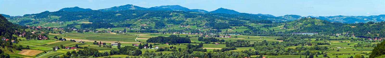 Croatian Zagorje landscape panorama. Aerial view of green fields and villages in Croatian Zagorje royalty free stock photography