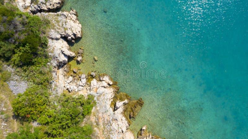 Croatielandschap, kust en overzees stock foto's