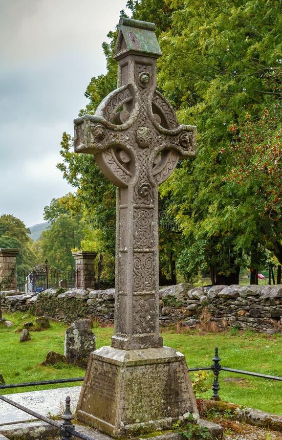 Croce celtica, Glendalough, Irlanda fotografie stock libere da diritti
