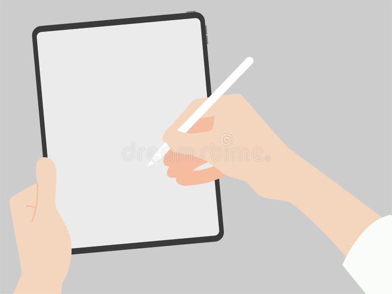 Crochet de main et écrire le crayon dans la nouvelle technologie à l'avance de conception de nouveau comprimé puissant illustration de vecteur