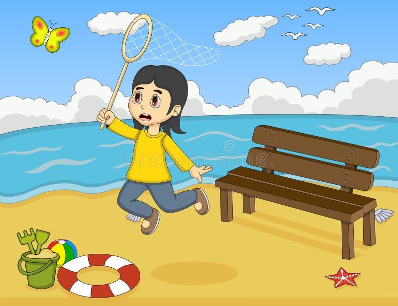 Crochet de petite fille un papillon sur la bande dessinée de plage illustration stock