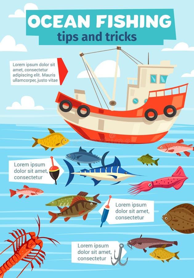 Crochet de poissons de bateau et de pêcheur de pêche maritime  illustration stock