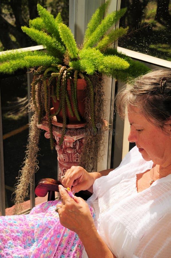 Crochet & fio imagens de stock royalty free