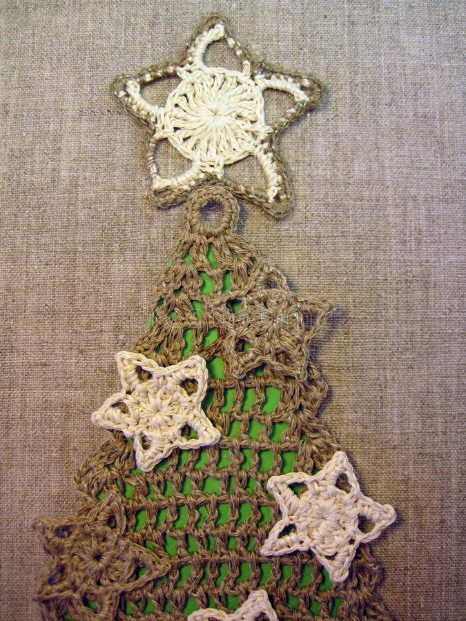 Crochet fir tree with decoration royalty free stock image