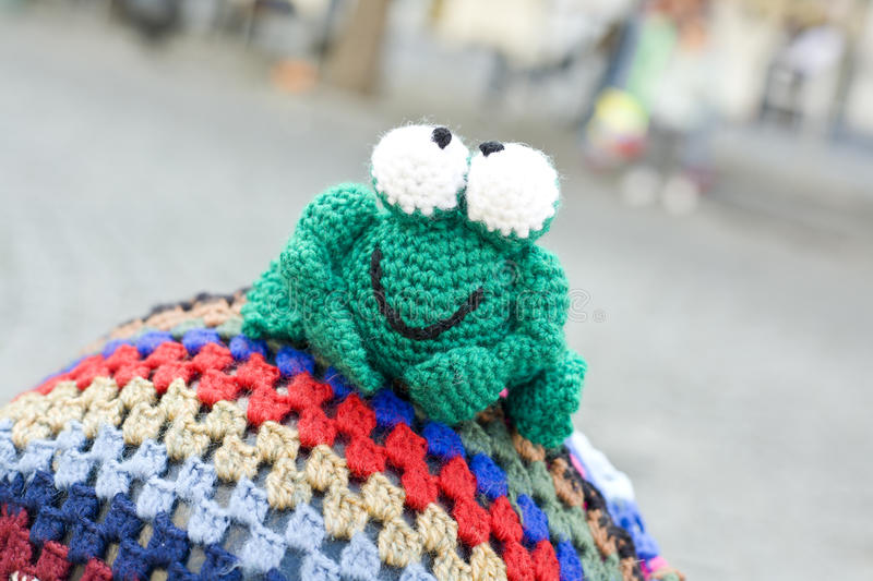 Crochet frog. Hand crocheted figurines showing, Badajoz, Spain. Crochet frog royalty free stock images