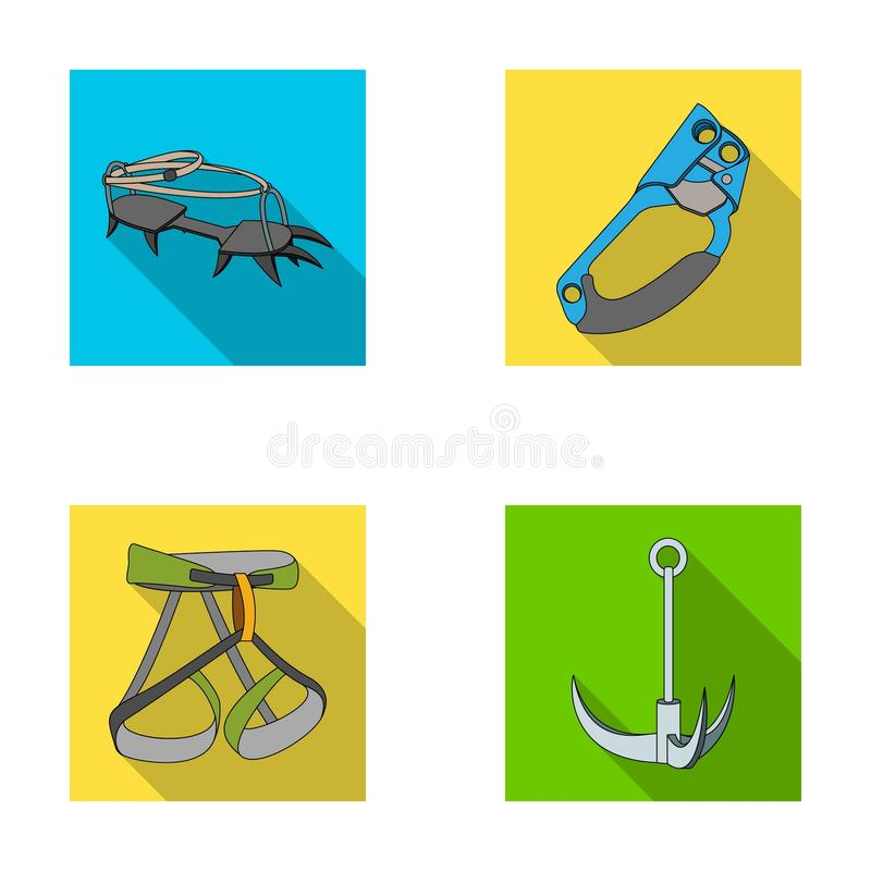 Crochet, harnais d'alpiniste, assurance et tout autre équipement Les icônes réglées de collection d'alpinisme dans le style plat  illustration de vecteur