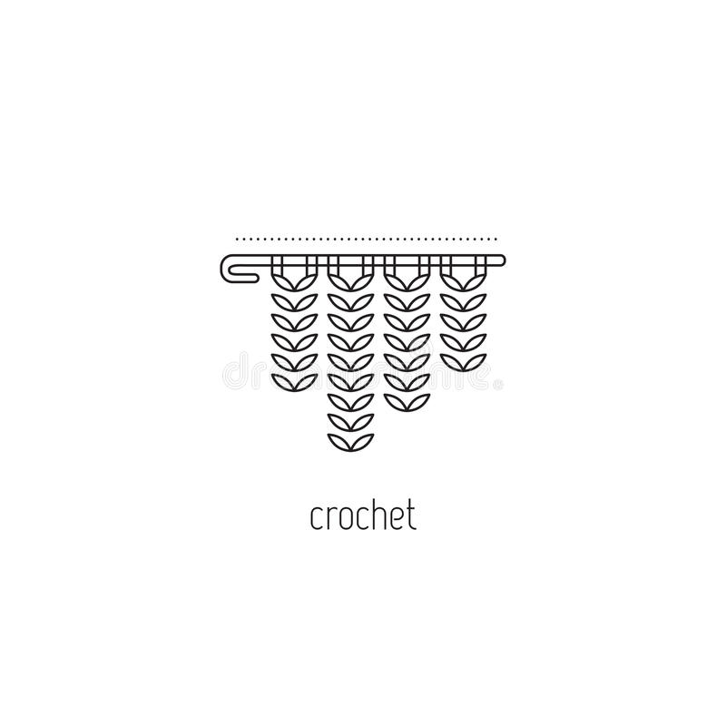 Crochet line icon. Crochet vector thin line icon, a hook with yarn. Black on white isolated symbol. Logo template, element for business card or workshop royalty free illustration