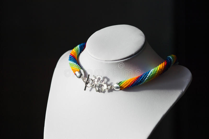 Crochet necklace made from beads rainbow color stock image
