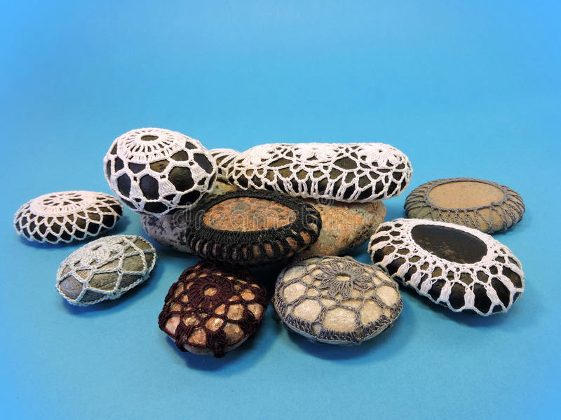 Crochet stones royalty free stock images