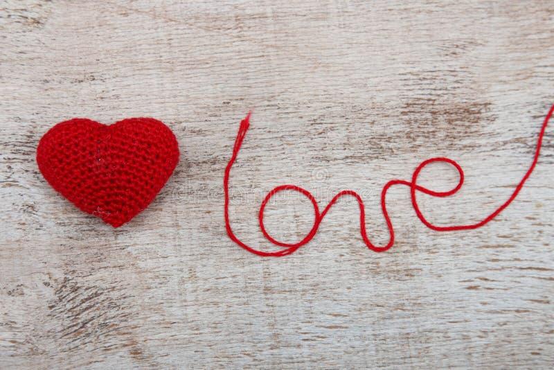 Crochet valentine heart stock photo