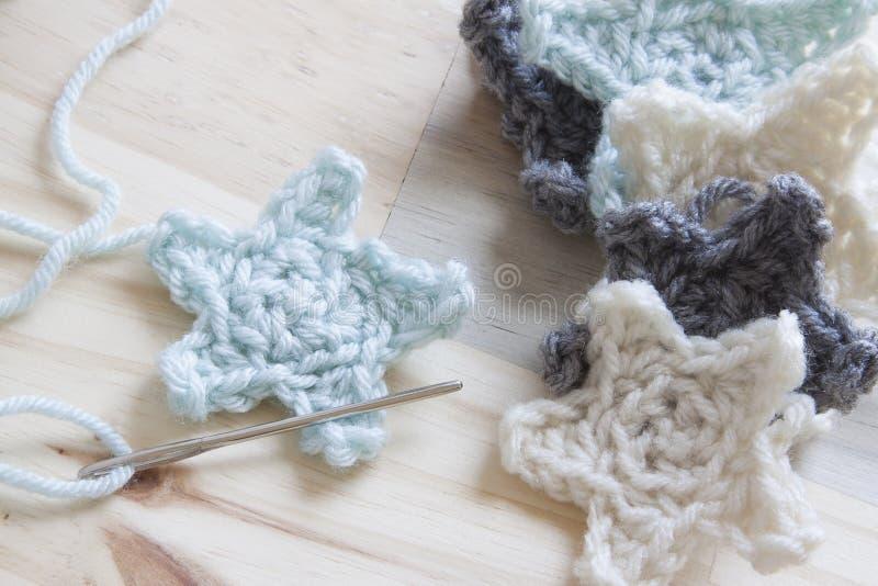 Crochet Yarn. Yarn crocheted into multiple stars royalty free stock photography