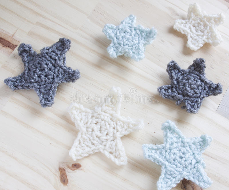 Crochet Yarn. Yarn crocheted into multiple stars royalty free stock image