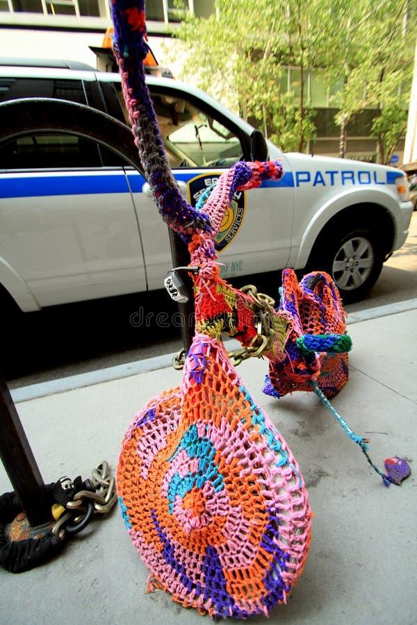 Crocheted bike in Manhattan street stock photo