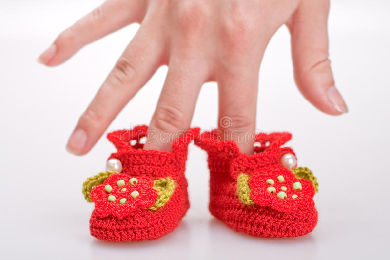 Download Crocheted Booties For A Girl Stock Photo - Image: 19609648