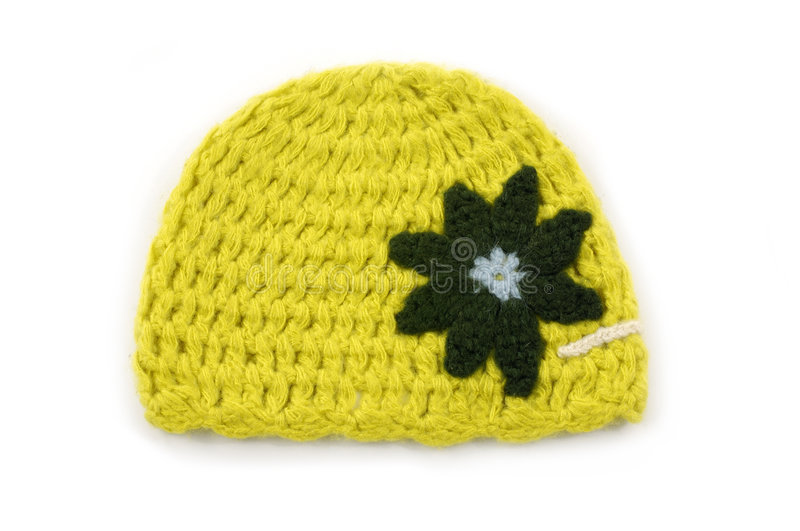 Crocheted hat. On white background stock photography