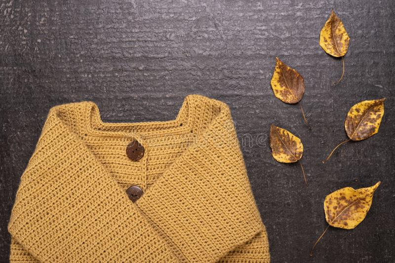 Crocheted yellow cardigan on a black background. Autumn composition with a yellow crocheted cardigan and dried leaves on a black background stock image