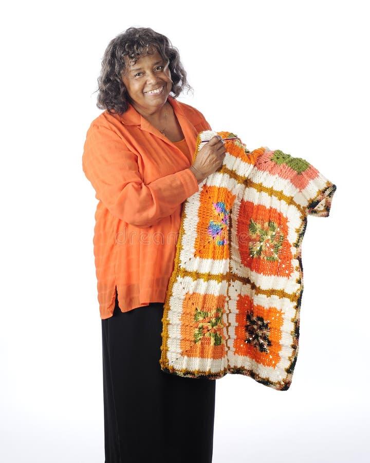 Crocheter felice fotografie stock libere da diritti