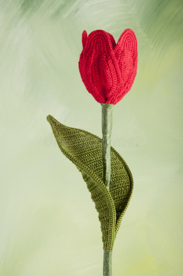 Crocheting-tulip-flores fotografia de stock royalty free