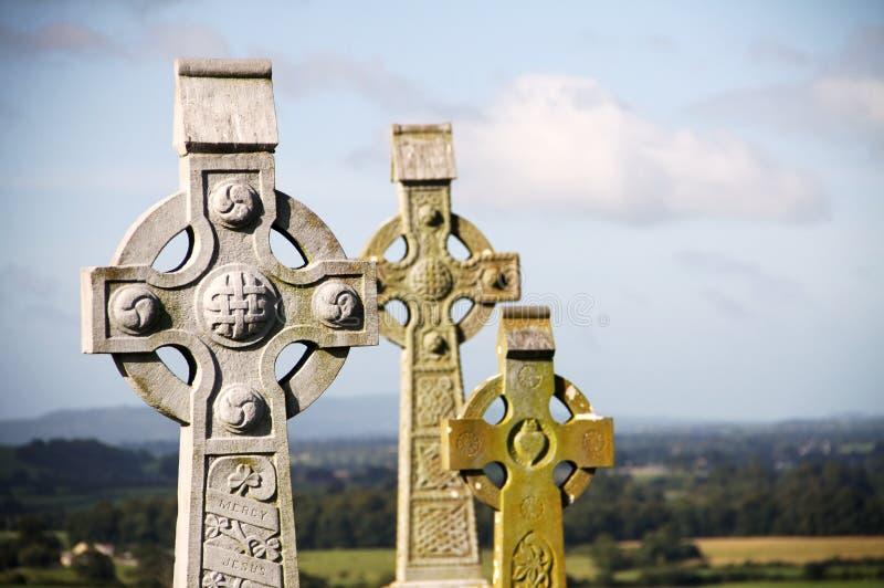 Croci celtiche a roccia di Cashel, Irlanda fotografia stock