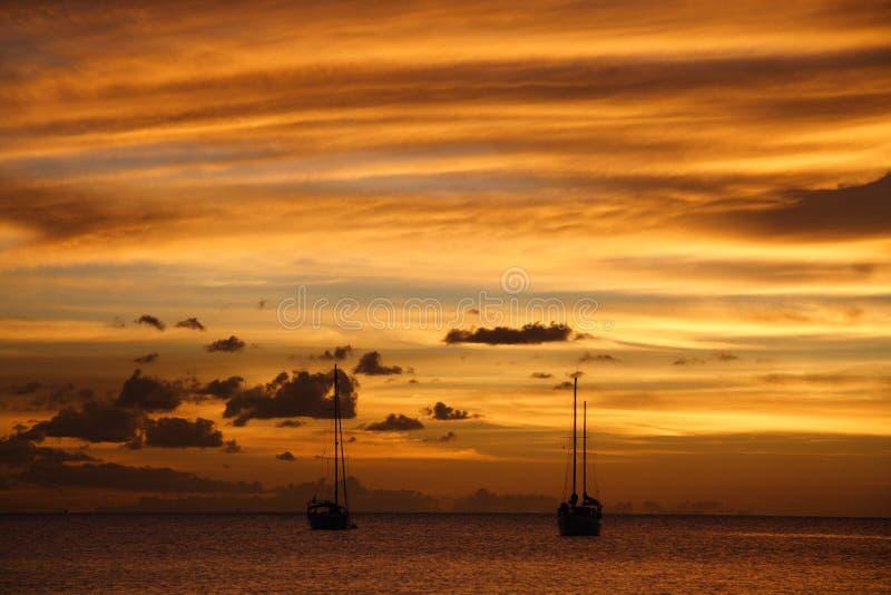 Crociera caraibica dorata di tramonto fotografia stock libera da diritti