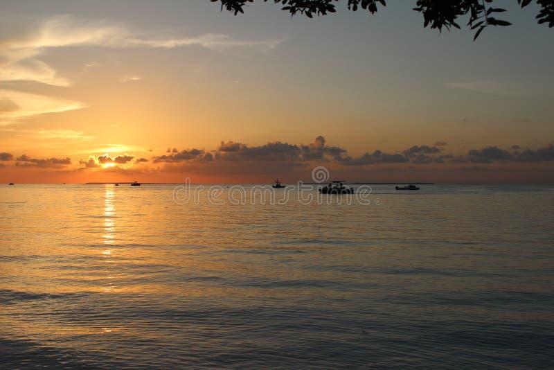 Crociera iniziale di tramonto dell'oceano fotografia stock libera da diritti
