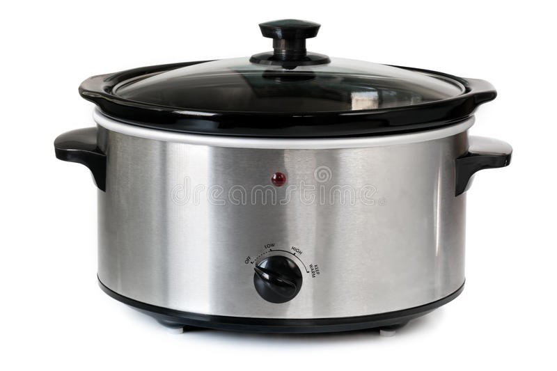 Crock Pot. Electric crock pot or slow cooker, isolated on white stock photography