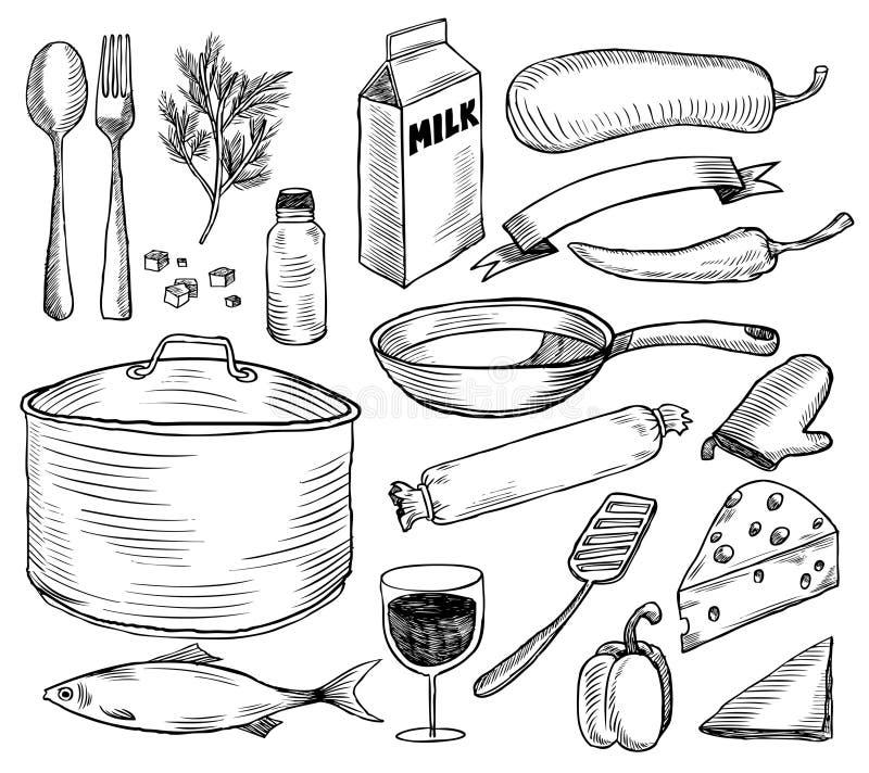 crockery doodles set ilustracji