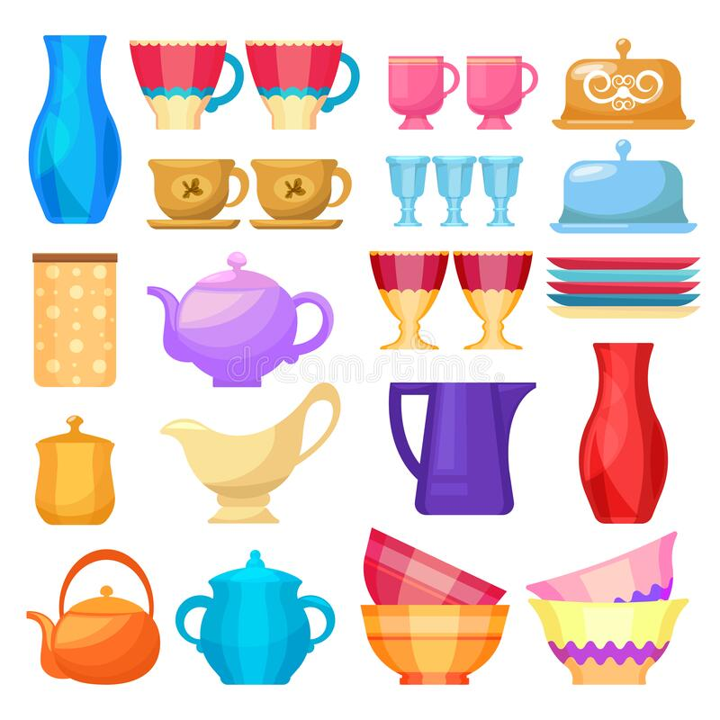 Crockery, kitchen dishware and porcelain icons set. Crockery and kitchen dishware utensils vector flat icons set. Kitchen ceramic cookware, porcelain tea cups vector illustration