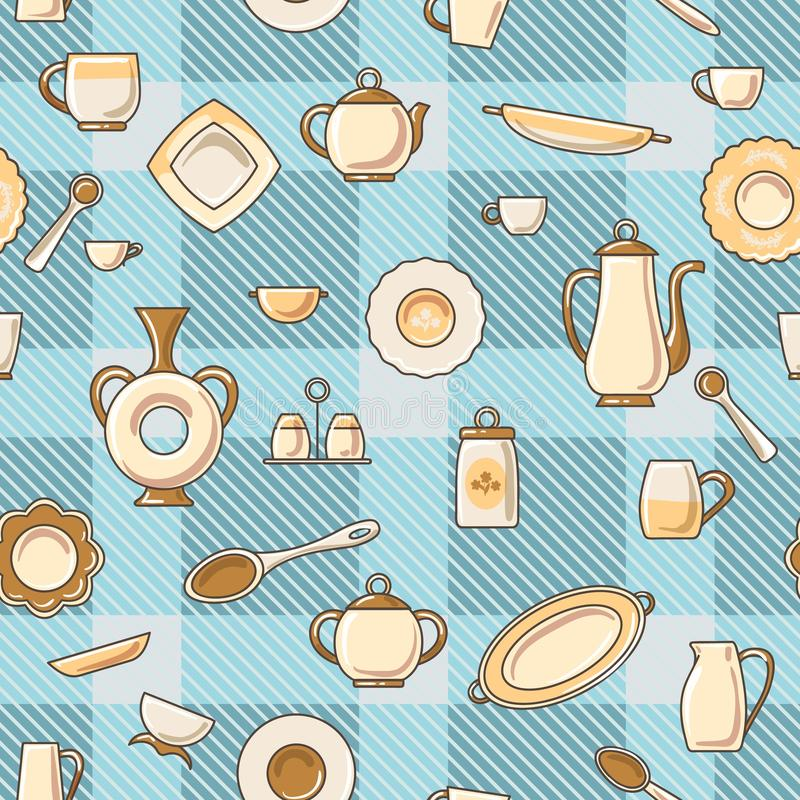 Crockery seamless pattern royalty free illustration