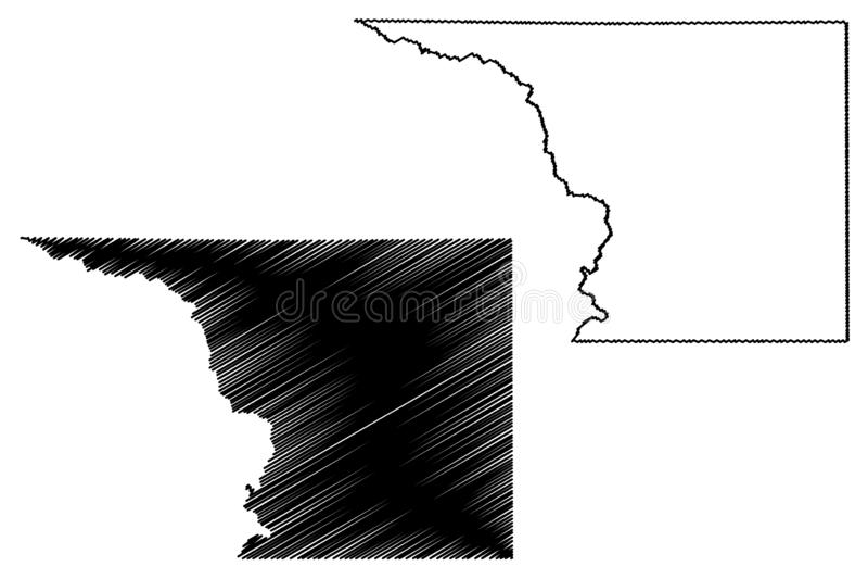 Crockett okręg administracyjny, Teksas okręgi administracyjni w Teksas, Stany Zjednoczone Ameryka, usa, U S , USA mapy wektorowa  royalty ilustracja