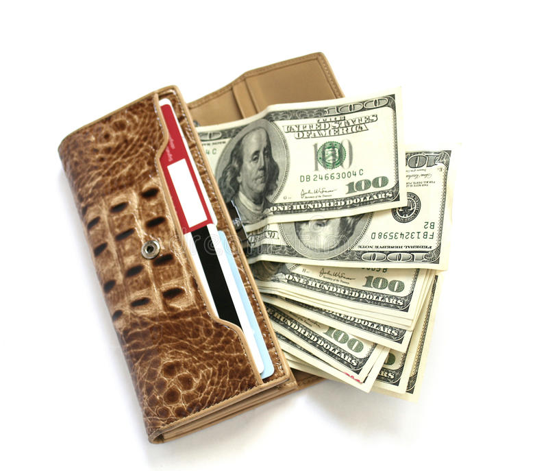 Croco leather wallet full of dollars royalty free stock images