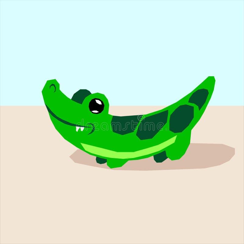Crocodeli Gekko Logo Icon Flat stock de ilustración