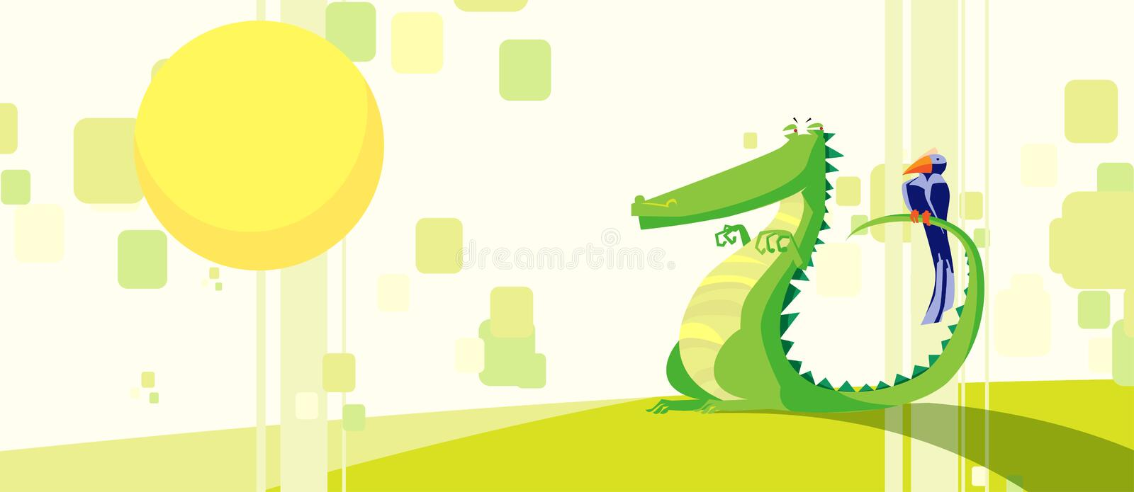 Crocodile. Hungry crocodile with a bird on it's tail stock illustration